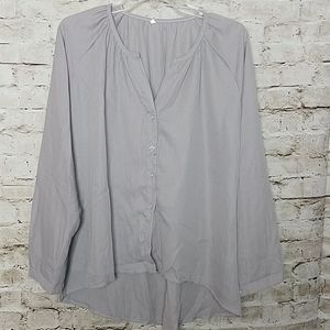 Gray Blouse  Size XLarge Sheer Button Front